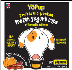 Yoghund YöPup Frozen Yogurt Cups Pumpkin & Bacon Dog Treats, 1-pk