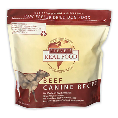 Steve's Real Food Freeze-Dried Beef Nuggets for Dogs, 1.25-lb
