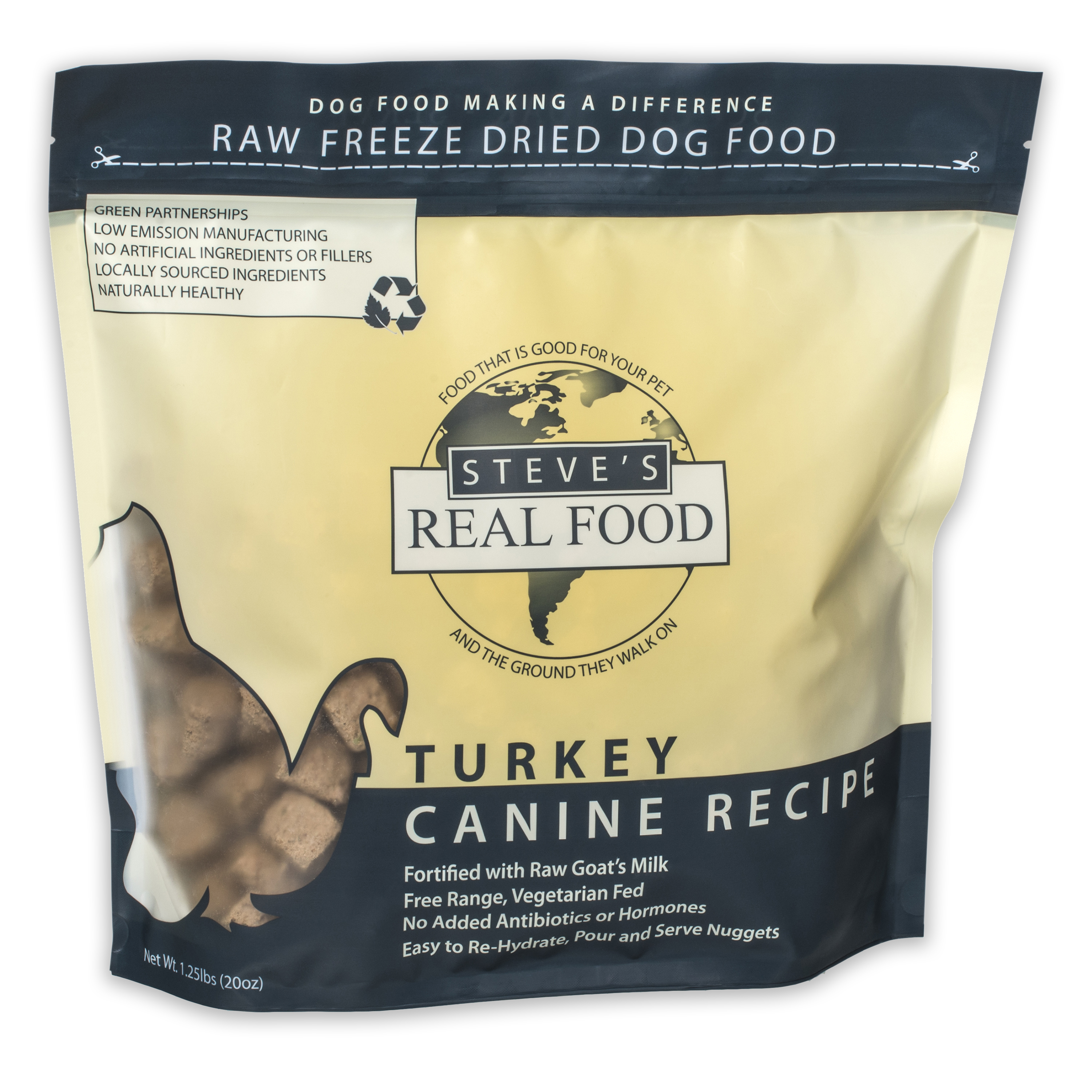 Steve's Real Food Freeze-Dried Turkey Nuggets for Dogs, 1.25-lb