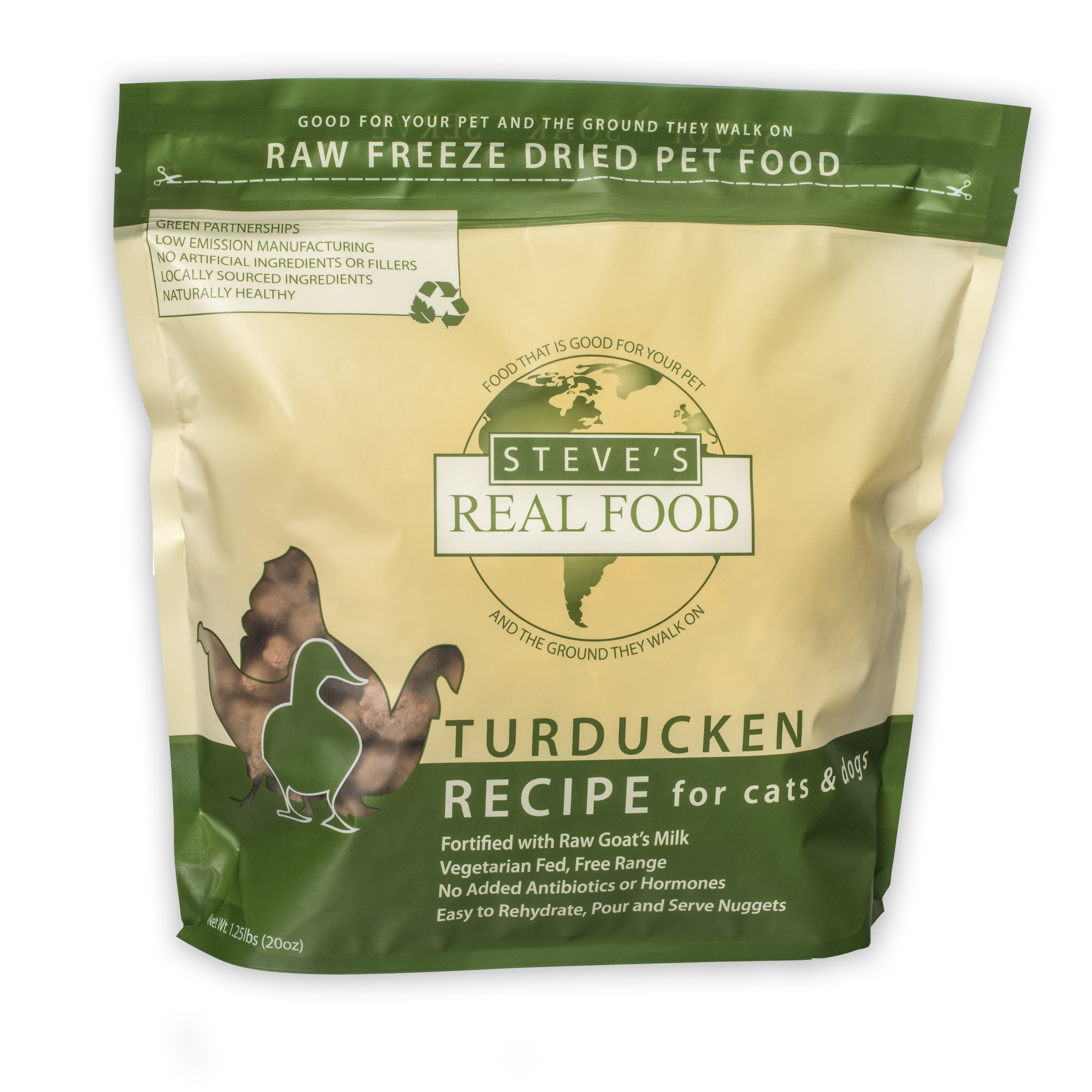 Steve's Real Food Freeze-Dried Turducken Nuggets for Dogs, 1.25-lb
