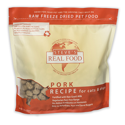 Steve's Real Food Freeze-Dried Pork Nuggets for Dogs, 1.25-lb