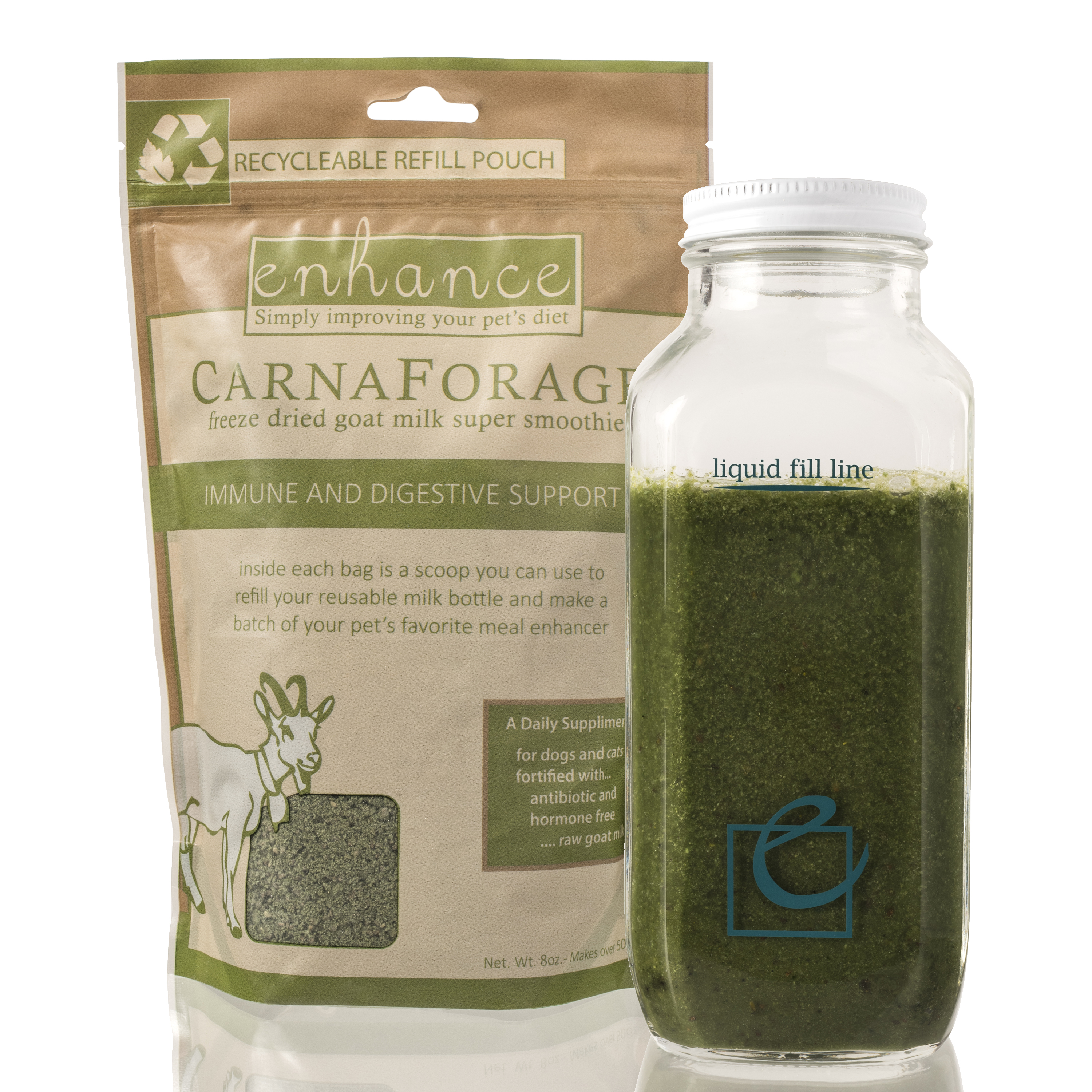 Steve's Real Food Enhance Carnaforage Immune and Digestive Support, Refill, 8-oz, refill