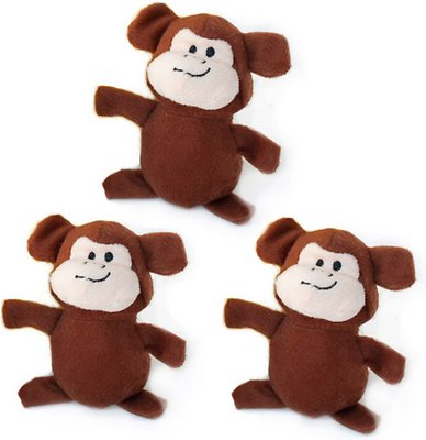 ZippyPaws Burrow Squeaky Hide and Seek Plush Dog Toy, Monkey 'n Banana, Refills