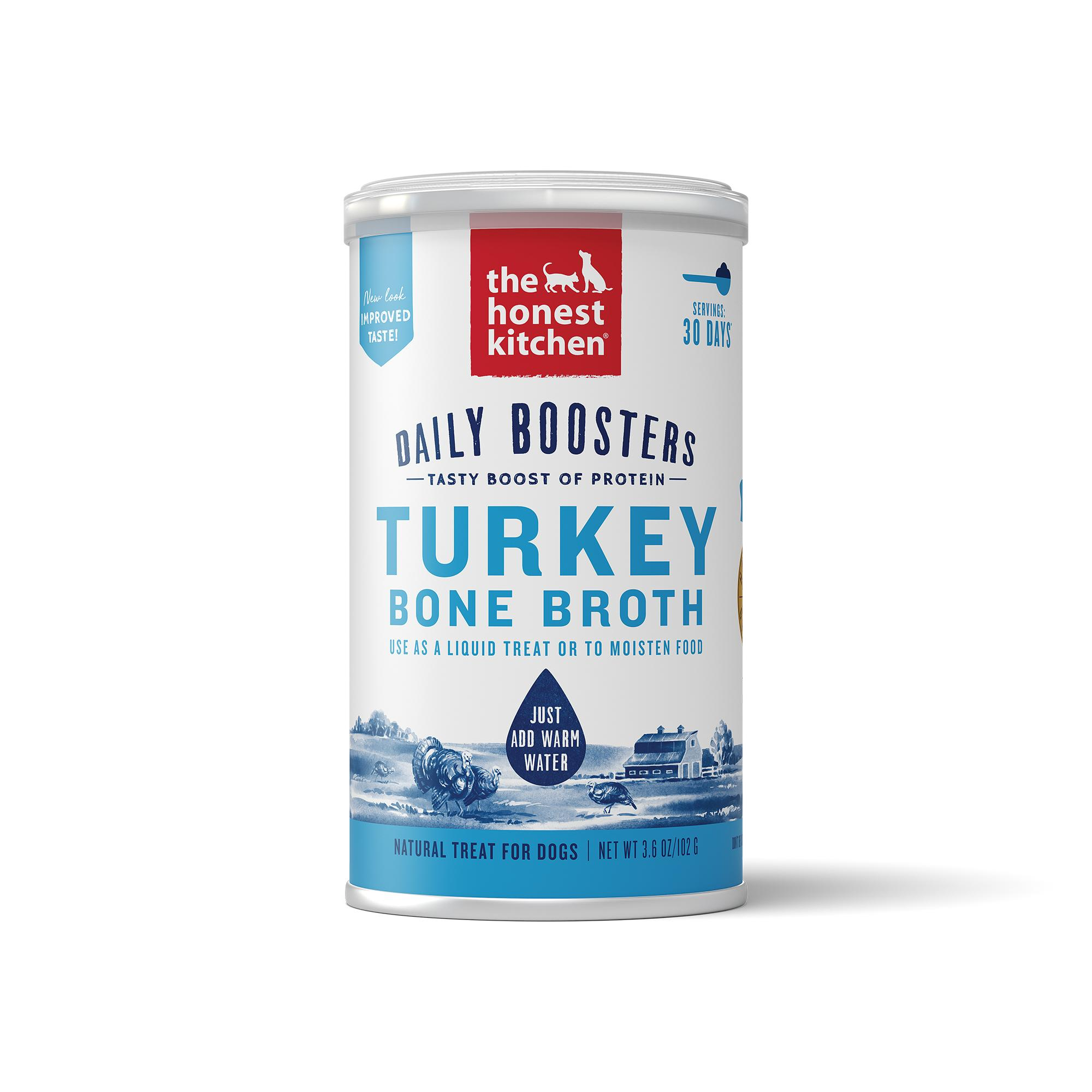 The Honest Kitchen Daily Boosters Instant Turkey Bone Broth with Turmeric for Dogs, 3.6-oz