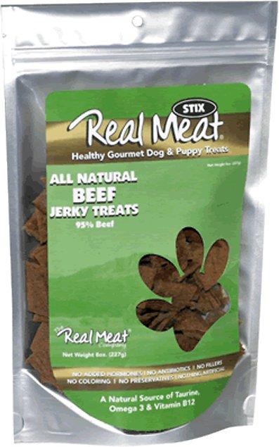The Real Meat Company 95% Beef Jerky Stix Dog Treats, 8-oz bag