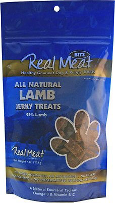 The Real Meat Company 95% Lamb Jerky Bitz Dog Treats, 4-oz bag