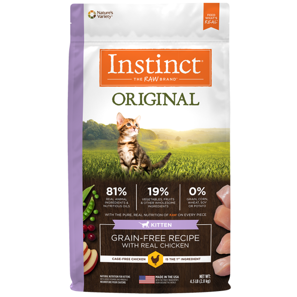 Instinct by Nature's Variety Original Kitten Grain Free Recipe with Real Chicken Natural Dry Cat Food, 4.5-lb (Size: 4.5-lb) Image