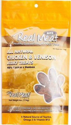 The Real Meat Company 95% Chicken & Venison Jerky Bitz Dog Treats, 4-oz bag