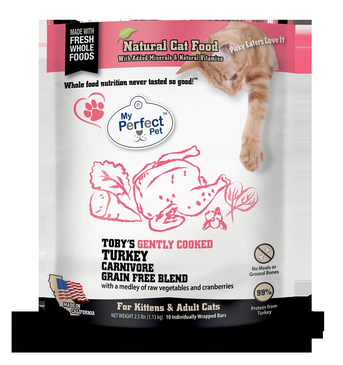 My Perfect Pet Toby's Turkey Carnivore Blend Grain-Free Frozen Cat Food, 2.5-lb