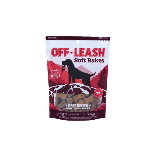 Presidio Off Leash GF Soft Bakes Beef with Cranberries Dog Treats, 150-grams