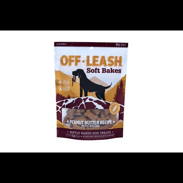 Presidio Off Leash GF Soft Bakes Peanut Butter with BaconDog Treats, 150-grams