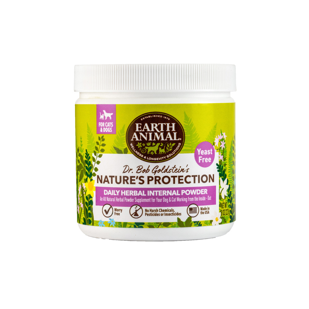 Earth Animal Nature's Protection Flea & Tick Prevention Daily Internal Herbal Powder for Dogs & Cats, 8-oz