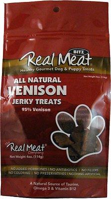 The Real Meat Company 95% Venison Jerky Bitz Dog Treats, 4-oz bag
