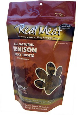 The Real Meat Company 95% Venison Jerky Bitz Dog Treats, 12-oz bag