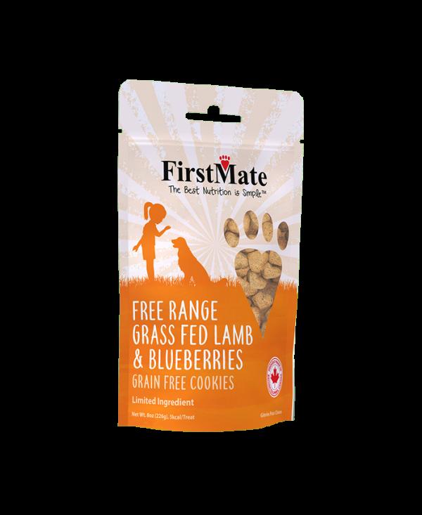 FirstMate Free Range Grass Fed Lamb & Blueberries Dog Treat, 8-oz