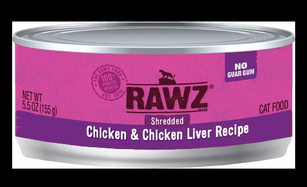 Rawz Chicken & Chicken Liver Shredded Cat Can, 3-oz