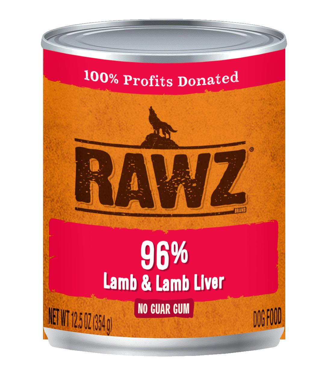Rawz 96% Lamb & Liver Pate Dog Can, 12.5-oz