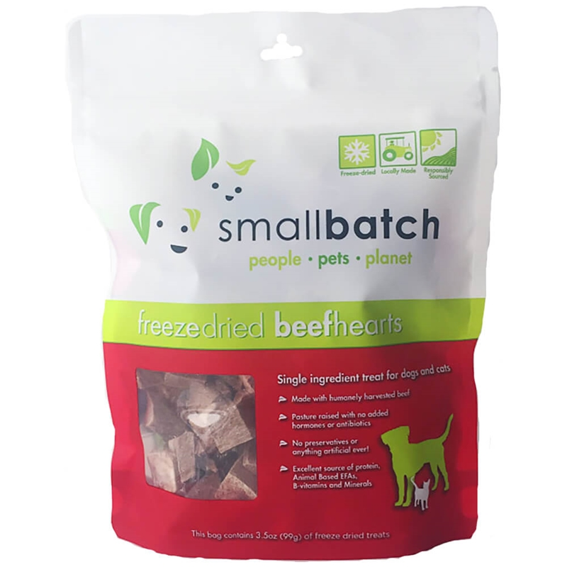 Small Batch Treats Freeze-Dried Beef Hearts Dog Treats, 3.5-oz