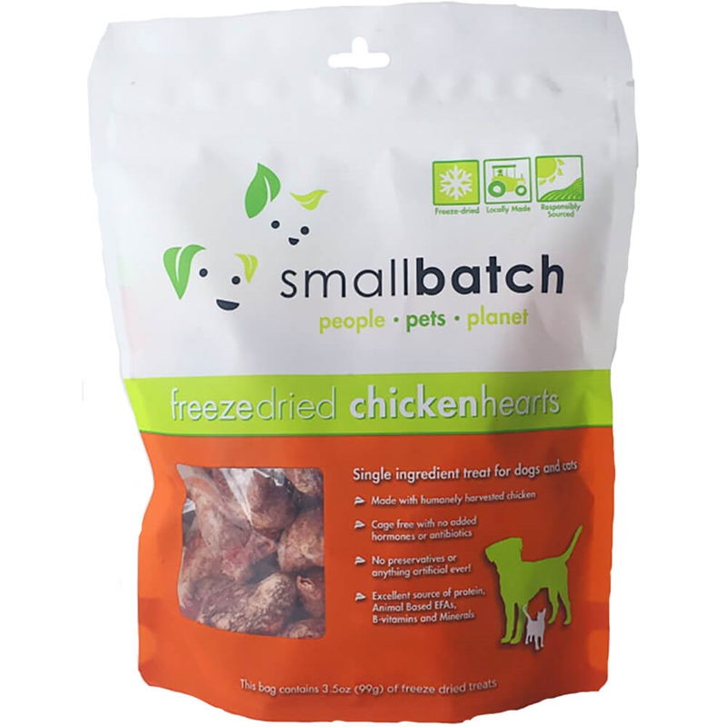 Small Batch Treats Freeze-Dried Chicken Hearts Dog Treats, 3.5-oz