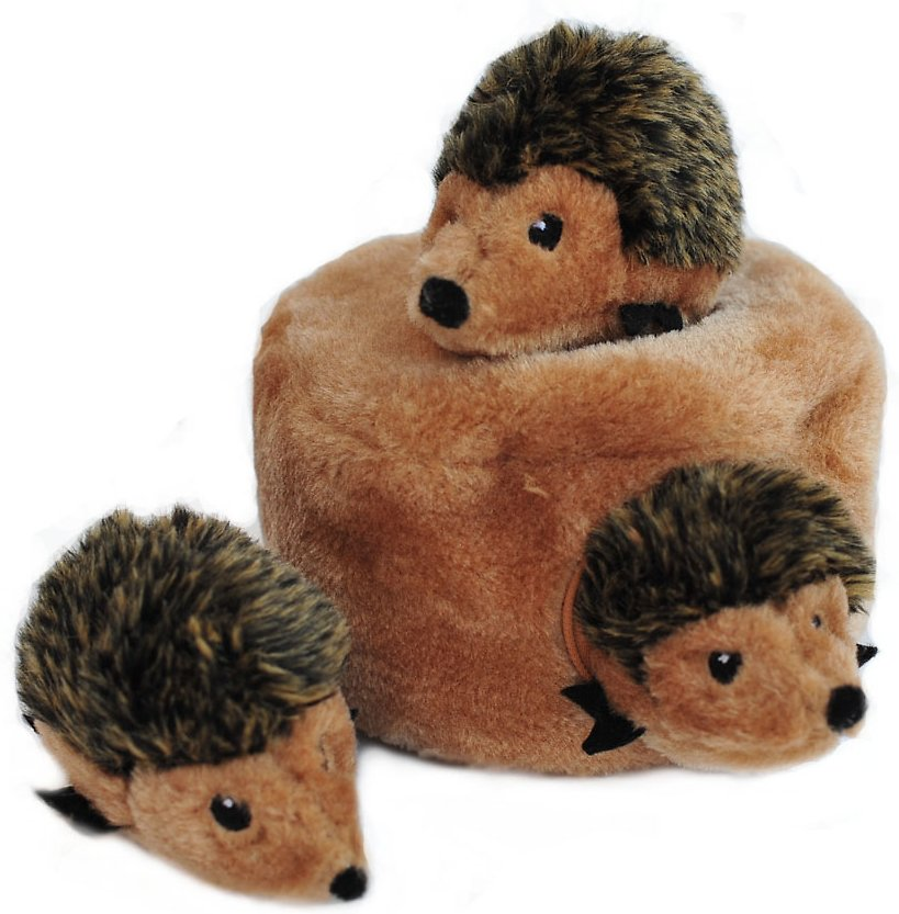 ZippyPaws Burrow Squeaky Hide and Seek Plush Dog Toy, Hedgehog Den Image