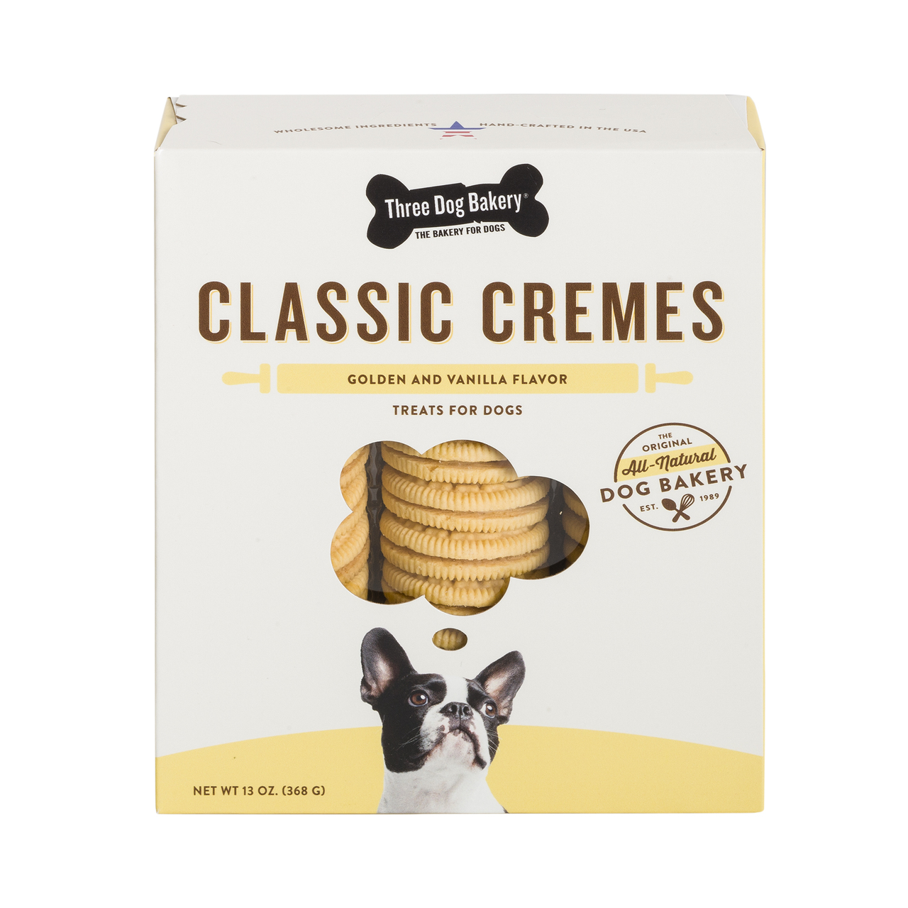 Three Dog Bakery Classic Cremes Golden Cookies with Natural Vanilla Flavor Filling , 13-oz