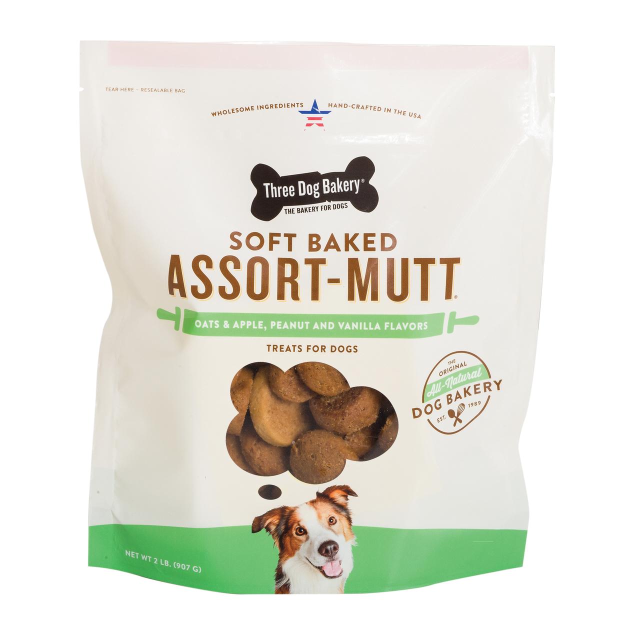 Three Dog Bakery Assort'Mutt' Trio Oats & Apples Peanut Butter & Vanilla , 32-oz