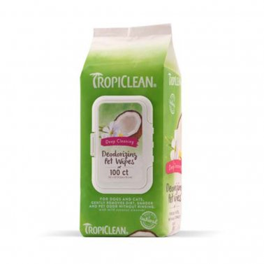 TropiClean Deep Cleaning Wipes For Pets, 100-ct