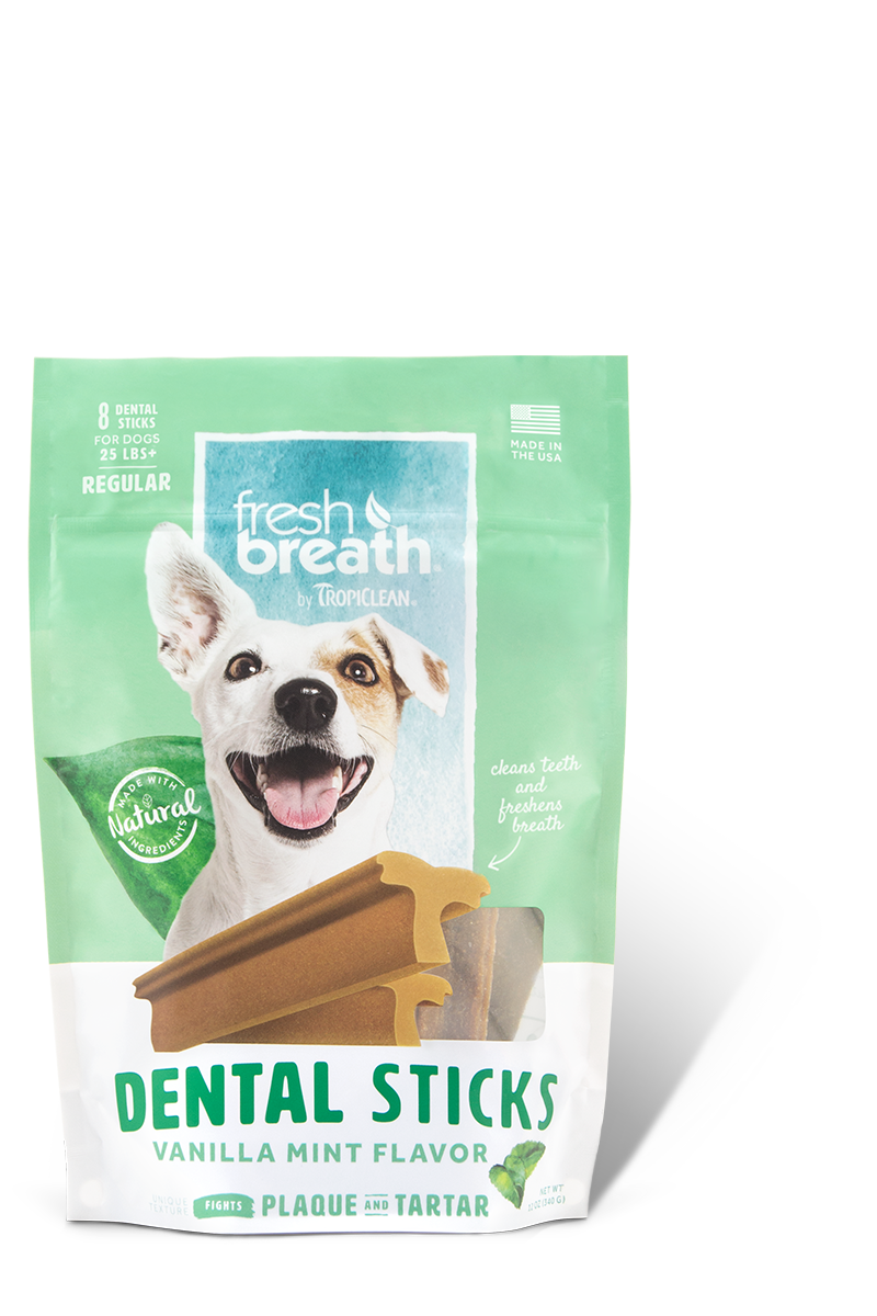 TropiClean Advanced Regular Cleaning Dental Dog Stick- Vanilla Mint, 8-ct
