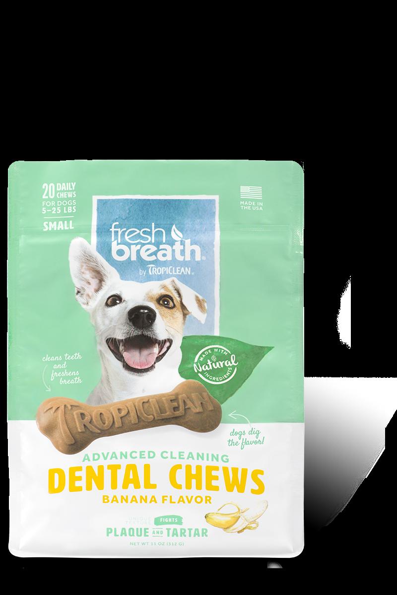 TropiClean Advanced Small Cleaning Dental Dog Chew - Banana Flavor, 20-ct