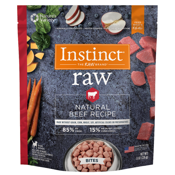 Instinct by Nature's Variety Frozen Raw Bites Grain-Free Real Beef Recipe Dog Food Image
