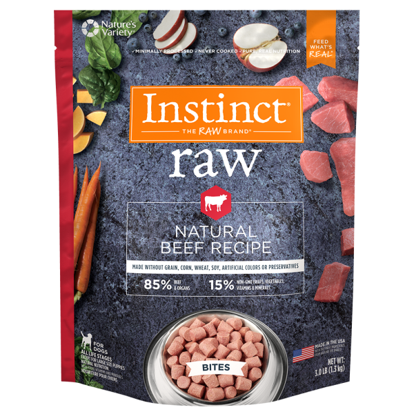 Instinct by Nature's Variety Frozen Raw Bites Grain-Free Real Beef Recipe Dog Food, 3-lb
