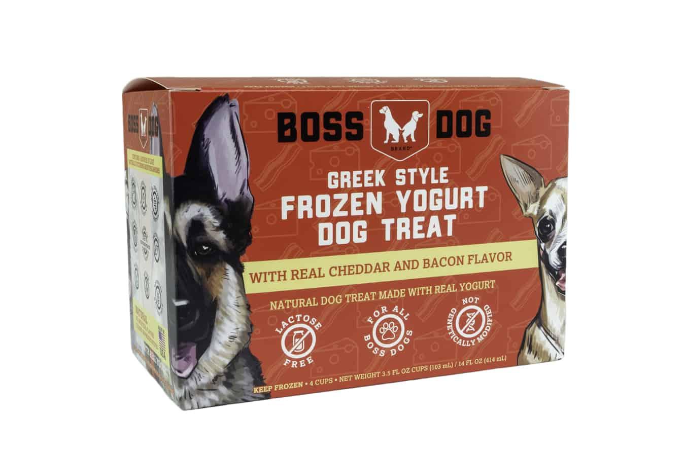Boss Dog Cheddar & Bacon Frozen Yogurt Dog Treats, 3.5-oz, 4-pack