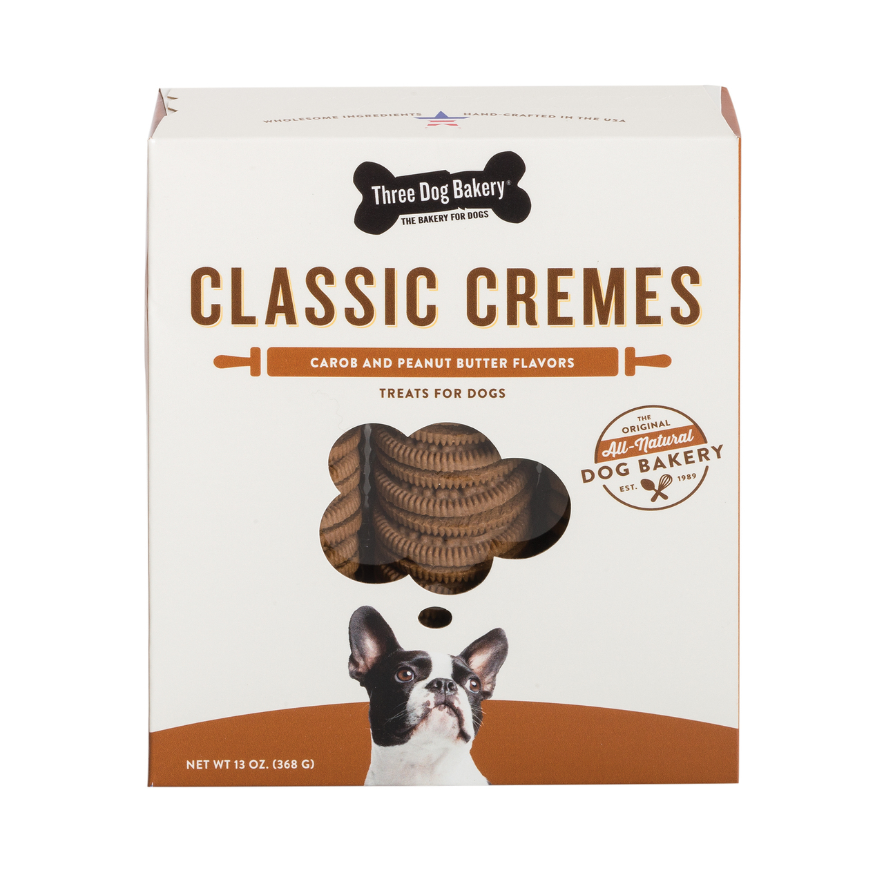 Three Dog Bakery Classic Cremes Carob Cookies with Natural Peanut Butter Filling, 13-oz