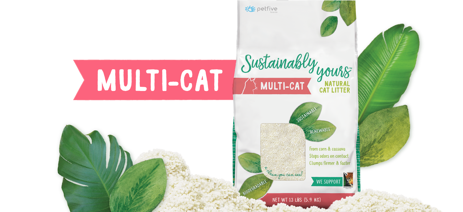 Sustainably Yours Natural Multi-Cat Litter, 13-lb