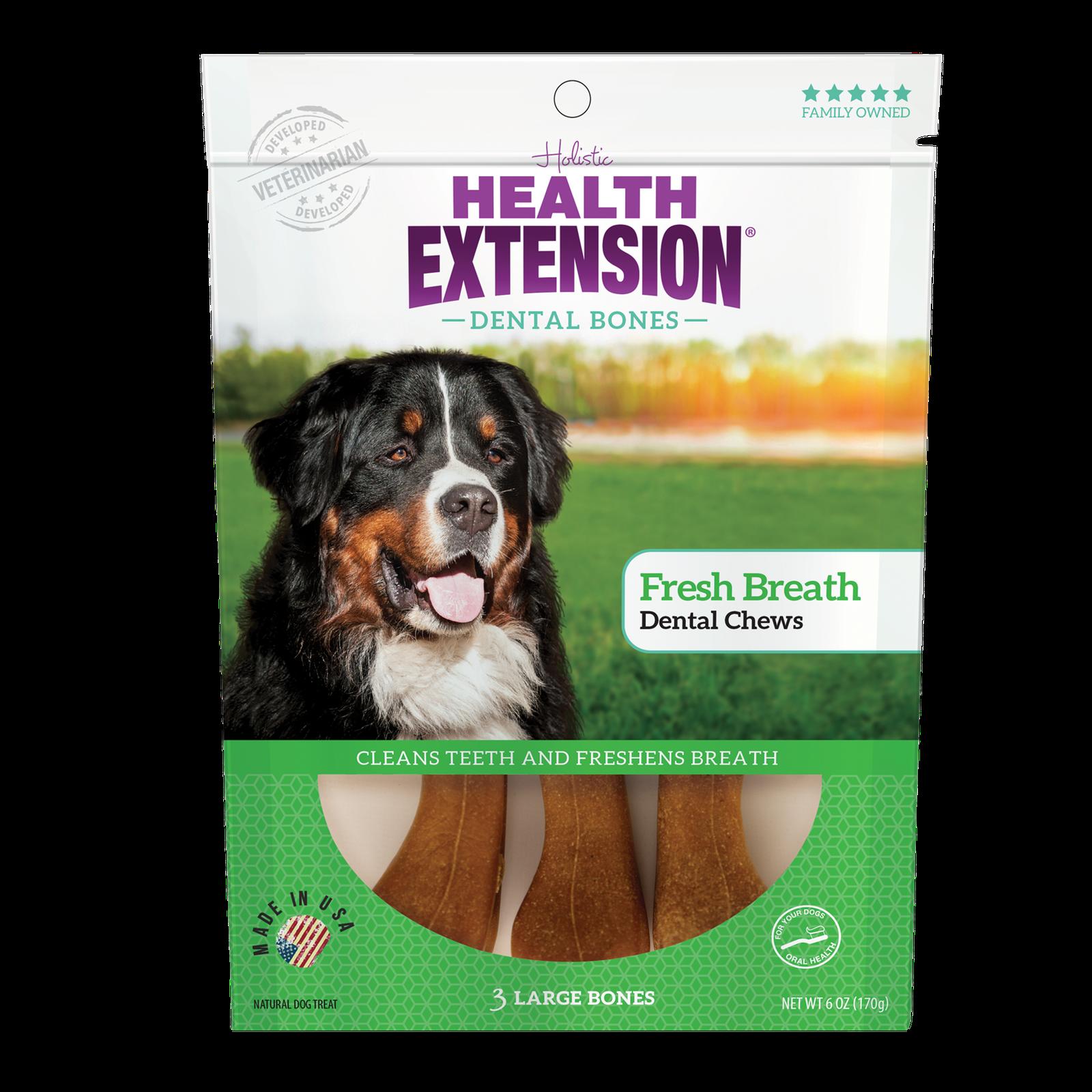 Health Extension Fresh Breath Dental Bones Dog Treats, Large, 3 count