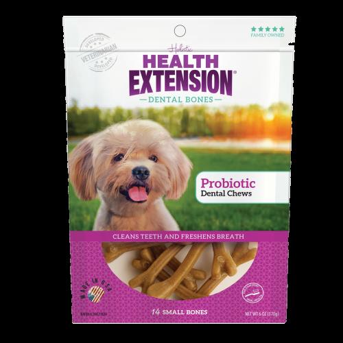 Health Extension Probiotic Yogurt Dental Bones Dog Treats, Small, 14 count