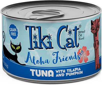 Tiki Cat Aloha Friends Tuna with Tilapia & Pumpkin Grain-Free Wet Cat Food, 5.5-oz can, case of 8