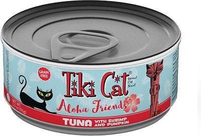 Tiki Cat Aloha Friends Tuna with Shrimp & Pumpkin Grain-Free Wet Cat Food, 3-oz can, case of 12