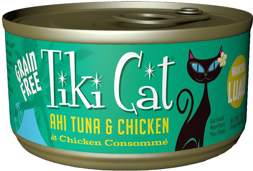 Tiki Cat Hookena Luau Ahi Tuna & Chicken in Chicken Consomme Grain-Free Canned Cat Food, 6-oz