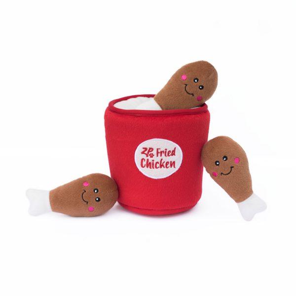 ZippyPaws Burrows Fried Chicken Bucket Dog Toy, 5.5 x 5.5 x 6 in