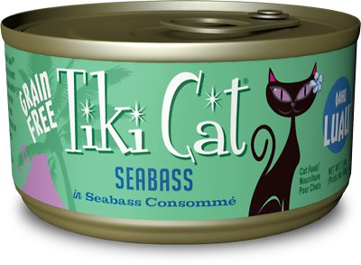 Tiki Cat Oahu Luau Seabass in Seabass Consomme Grain-Free Canned Cat Food, 2.8-oz, case of 12