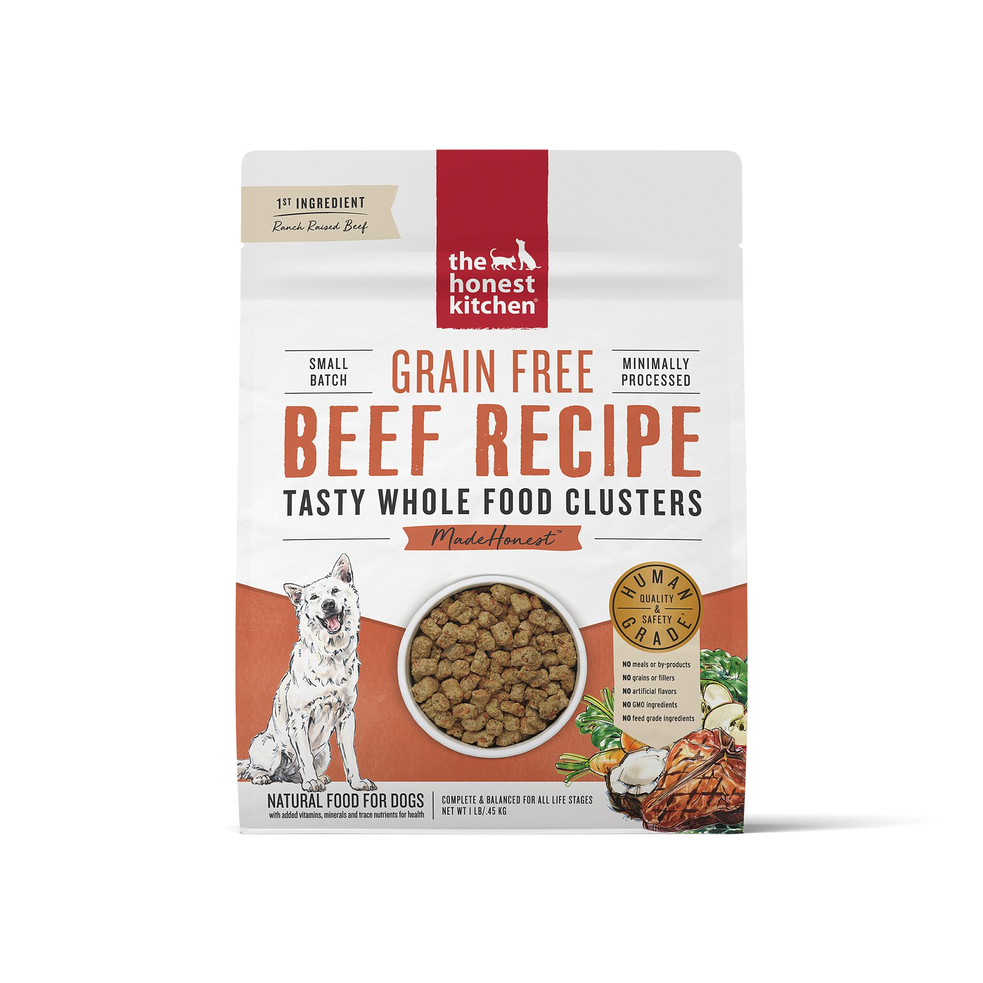 The Honest Kitchen Whole Food Clusters Beef Grain-Free Dry Dog Food, 1-lb