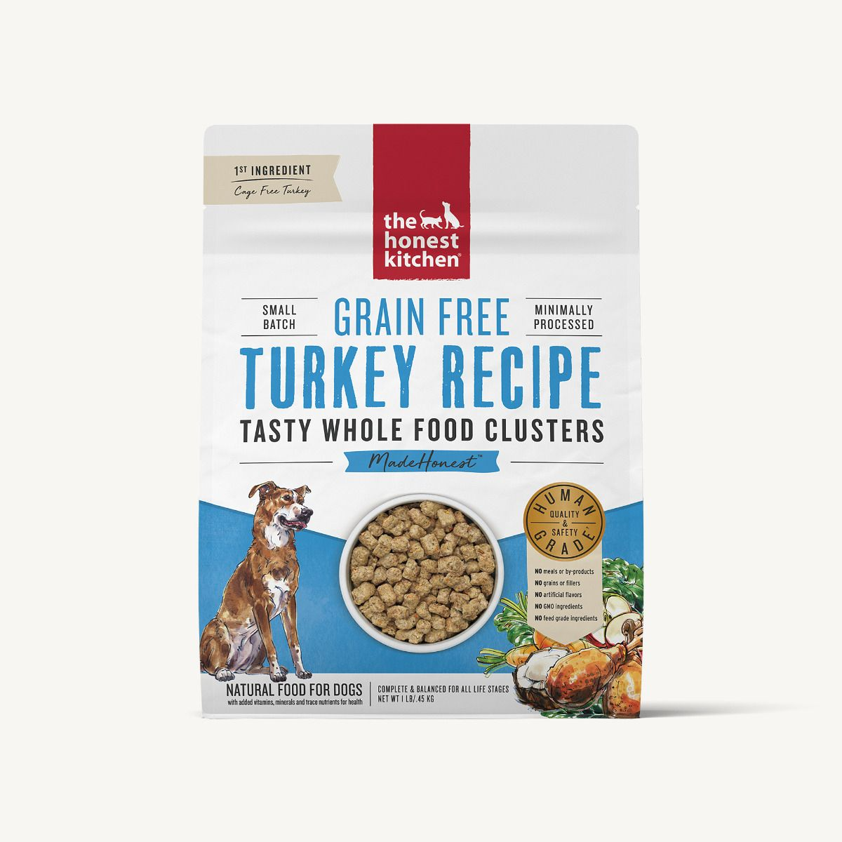 The Honest Kitchen Whole Food Clusters Grain Free Turkey Dog Food, 5-lb