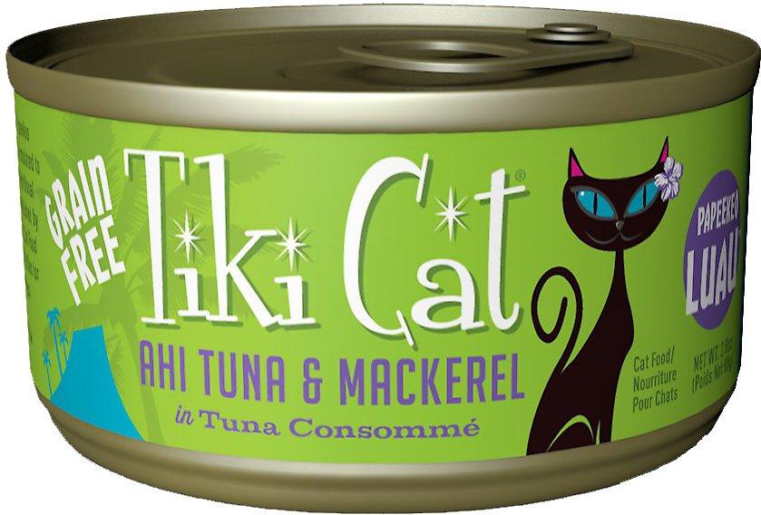 Tiki Cat Papeekeo Luau Ahi Tuna & Mackerel in Tuna Consomme Grain-Free Canned Cat Food, 2.8-oz