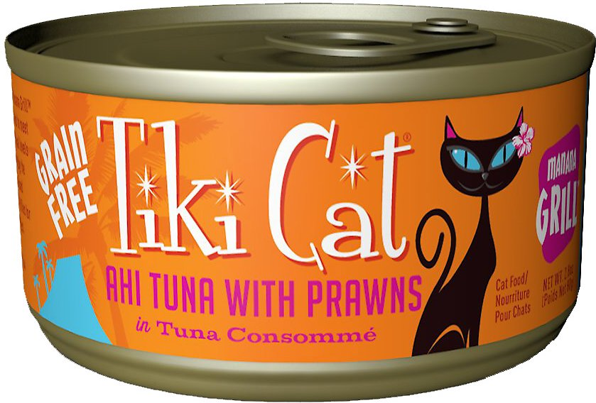 Tiki Cat Manana Grill Ahi Tuna with Prawns in Tuna Consomme Grain-Free Canned Cat Food, 2.8-oz