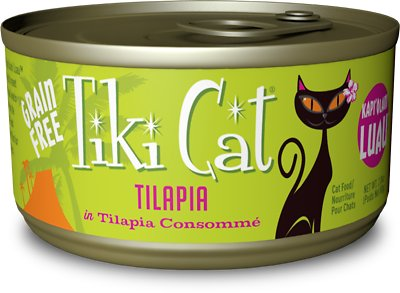Tiki Cat Kapi'Olani Luau Tilapia in Tilapia Consomme Grain-Free Canned Cat Food, 2.8-oz, case of 12