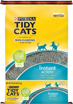 Tidy Cats Non-Clumping Instant Action Immediate Odor Control Cat Litter, 20-lb bag