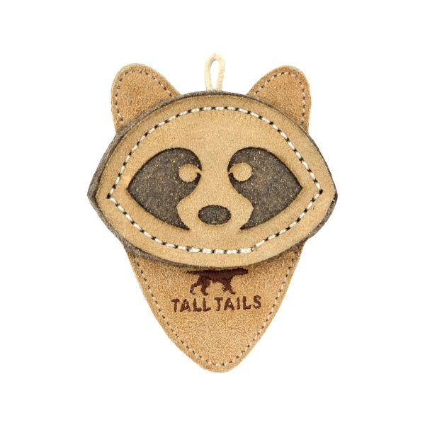 Tall Tails Natural Leather Racoon Dog Toy, 4-in (Size: 4-in) Image