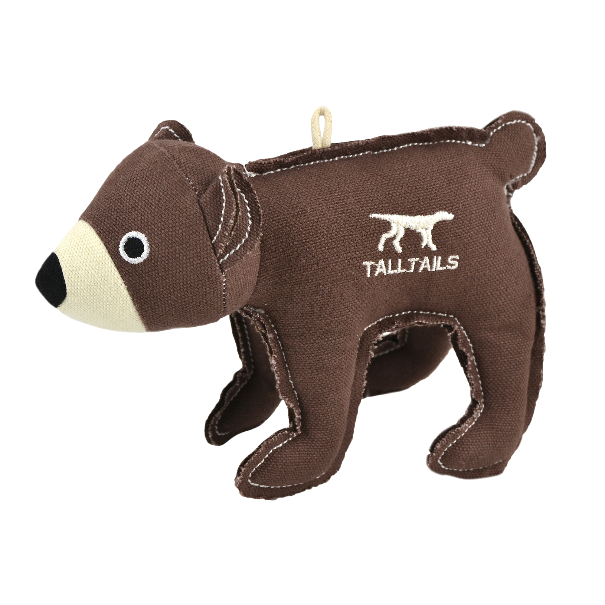 Tall Tails Bear Canvas Dog Squeaker Toy, 5-in (Size: 5-in) Image