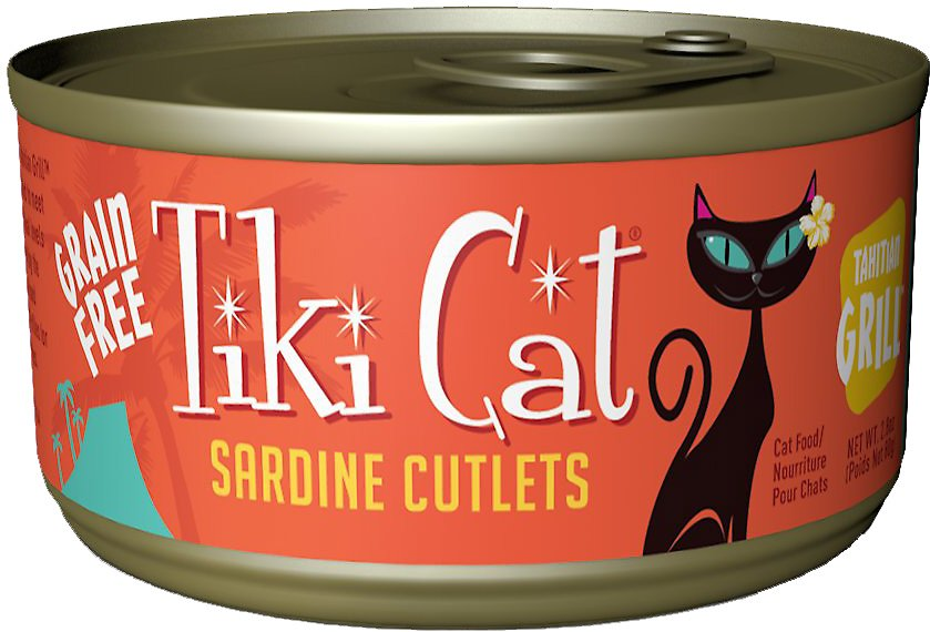 Tiki Cat Tahitian Grill Sardine Cutlets Grain-Free Canned Cat Food, 6-oz